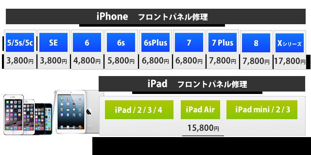 iPhone フロントパネル修理 4,800円~